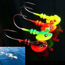 Lead Round Jig Head Fishing Lures Bait Hook Fish Tackle5g/10g/14gRandom Color KQ