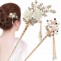 Women Metal Rhinestone Handmade Hair Stick Hair Chopsticks Hairpin Pin Chignon