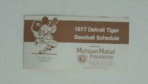 1977 MLB Detroit Tigers Complete Baseball Schedule Mutual Insurance - FLASH SALE