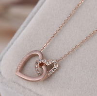 Michael Kors Double Heart Crystal Rose Gold Plated Pendant Necklace w/ Gift Box