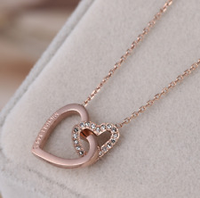 Michael Kors Double Heart Clear Crystal Pave Rose Gold Plated Pendant Necklace