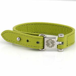 Genuine Leather Medical Id bracelet, Girls medical alert Bracelet, Allergies