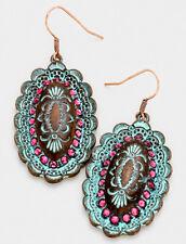 Vintage Pink Diamante Trim Copper Patina Concho Dangle Hook Earring Boho Cowgirl