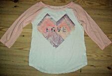 Xhilaration Girls Top Size L 10 12 White Pink Heart Glittery Love Spring Summer