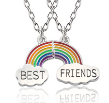 NEW BEST FRIENDS RAINBOW CLOUDS SILVER TONE TWO PIECE BFF NECKLACES UK SELLER
