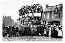 pt1428 - Opening Electric Tramway , Lincoln , Lincolnshire - photograph 6x4