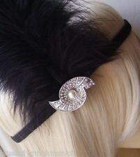 Stirnband SCHWARZ Feder Muschel Kristalle HAARREIF Haarschmuck Headband Silver
