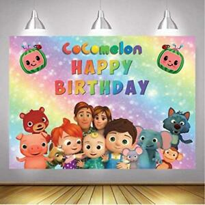 """COCOMELON 7' x 5' Party Backdrop """"Happy Birthday"""" Banner Decoration CY127 >NEW<"""