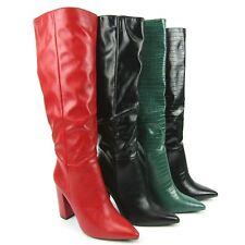 stivali donna alti verdi coccodrillo nero lucido rossi punta tacco 10