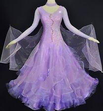 Women Competition Ballroom Dance Lavender Mesh Trim Modern Waltz Step Dance Gown
