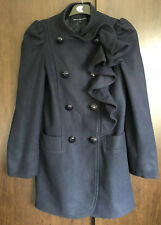 French Connection Navy Blue Wool Double Breasted Ruffle Front Coat Size 10