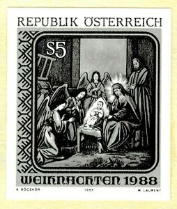 Austria 1988 5s Christmas Holy Family Icon in St Barbara Church Black Proof