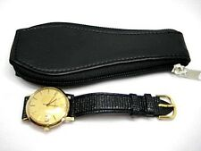 6 GENUINE 100% BLACK LEATHER WATCH POUCH – ZIP WALLET