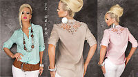 camicia country-chic ricamo floreale macramè alle spalle 5 colori taglia unica