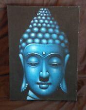Hand Painted Buddha Face Head Canvas Wall Art Blue Oil Painting Framed Modern