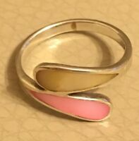 Vintage Silver Ring Retro 1980s 925 Modernist Mother Of Pearl Pink White O
