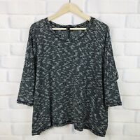 Forever 21 Womens Size Large Gray Top Wide Crop Dolman 3/4 Sleeve Shirt