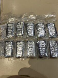 10 X 100g Betts Silver Bars Lot 3