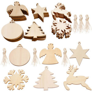 60 Pack Wooden Christmas Tree Xmas Hanging Decorations Hanging Craft Gift