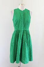 J Crew Womens Eyelet Lace Shirt Dress Kelly Green Sleeveless Size S J0945