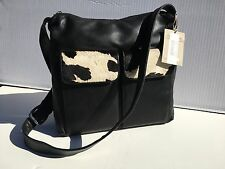Silver Blue Designer Handbag, NWT, Black Leather w/Cowhide Trim