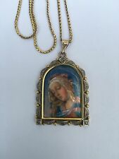 Antique 18ct 9ct Gold Italian Limoges Enamel Madonna Rose Cut Diamond Pendant