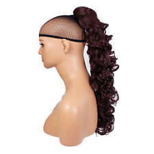 """22"""" PONYTAIL Clip in Hair Extensions CURLY Cheryl Cole Red #99J REVERSIBLE"""