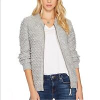 Lucky Brand S Sweater Bomber Jacket Gray Zip Up Fuzzy Lounge Women's NWT $99