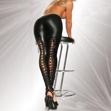 Black Red Faux Leather Pants Lace Up Leggings Steampunk Punk Rave Women Trousers