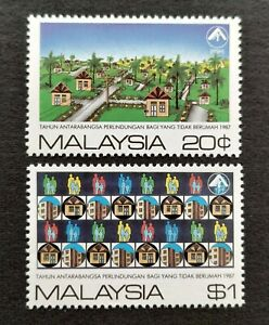1987 Malaysia International Year Shelter for Homeless 2v Stamps Fresh Mint NH OG