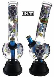 27cms Medium Bent Glass Candy Skull Bonza Oil Pourer Waterpipe Brand New
