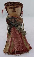 """Vintage Ethnic Hand Made Doll-Old Cloth-10""""-Thread/Fiber/Lace-Chancay Doll"""