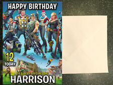 Personalised PS4 Fortnite Birthday Card any name/age/relation