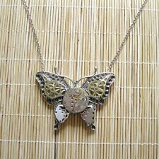 steampunk gothic punk men women jewelry necklace pendant watch parts butterfly