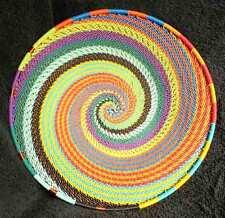 Swirling Silk Threads Handmade African Zulu Telephone Wire Basket Plate Small