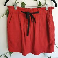 Country Road Burnt Red Cotton Mini Skirt 4 (fits 8-10) A-line Drawstring Pockets