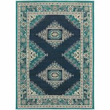 """Oriental Weavers 6658A Highlands Area Rug, Blue/Ivory, 9'10"""" by 12'10"""
