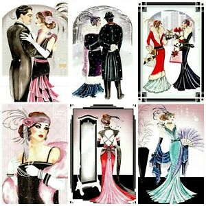 A WALK IN THE SNOW ART DECO Card Making Toppers, Card Toppers (12)