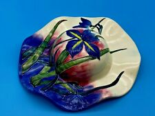 More details for vintage porcelain old tupton ware iris hat wall ornament plaque hand painted