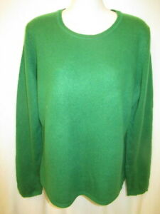 Lord & Taylor 100% Cashmere Green Crew Neck Sweater L