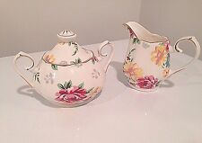 Grace's Teaware Creamer  and Sugar Cup with Lid. Beautiful White and Floral-New