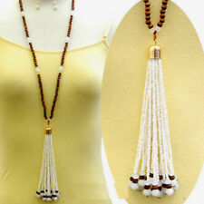 LONG SMALL ROUND WOODEN BEAD NECKLACE SET PEARL SEED BEAD TASSEL CRYSTAL ACCENTS