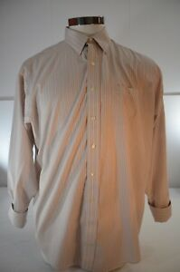 Brooks Brother Men Button Up Shirt Size 17 1/2 34 Tan Striped Long Sleeve
