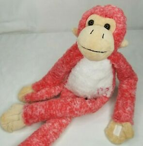 """Dan Dee Plush Monkey Pink Frosted Valentines Day Hearts Hanging Hugging 20"""" Soft"""
