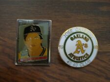 2-Oakland A's Jose Canseco Lapel Pin - Hat Caricature Pin and a 40 40 Club Pin