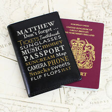 Personalised Dont Forget Black Men's Passport Holder Gift Ideas Passport Cover