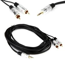 5m Gold Plated 3 Pole 3.5mm Male to 2RCA Male Audio Splitter Conversion Cable