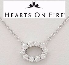 """0.25 ct HOF Hearts on Fire 18K White Gold Round Cut Diamond Oval Necklace 16"""""""