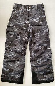 Columbia Snow Pants Boys Girls Omni-Heat Ski Medium 8 10 Black Camo Insulated EC