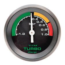 TIM TURBO BOOST GAUGE BLACK FACE Nero Lunetta 52mm DIAM RACE RALLY -1 a +1 BAR